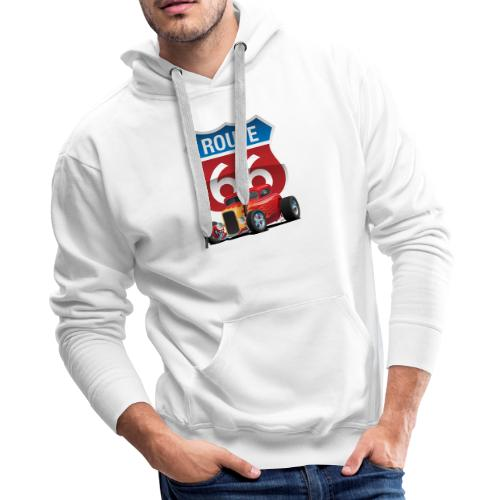 Route 66 Sign with Classic American Red Hotrod - Men's Premium Hoodie