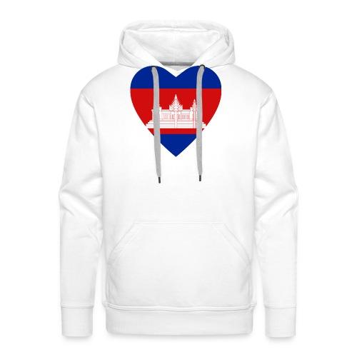 Cambodia Flag Heart - Men's Premium Hoodie