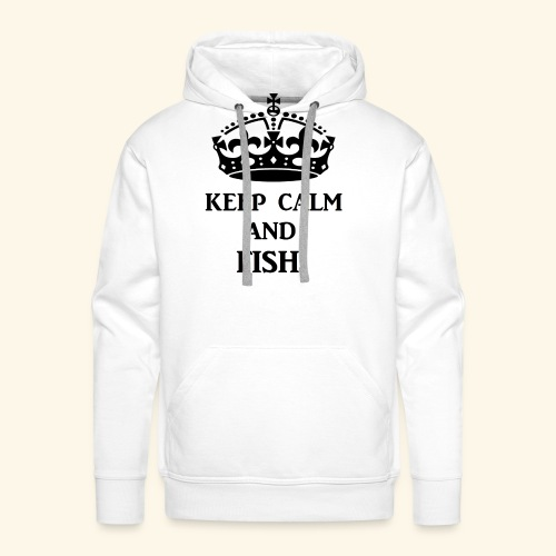 keep calm fish blk - Men's Premium Hoodie