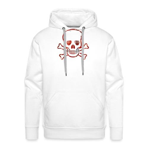 Skull & Cross Bones Red Plaid - Men's Premium Hoodie