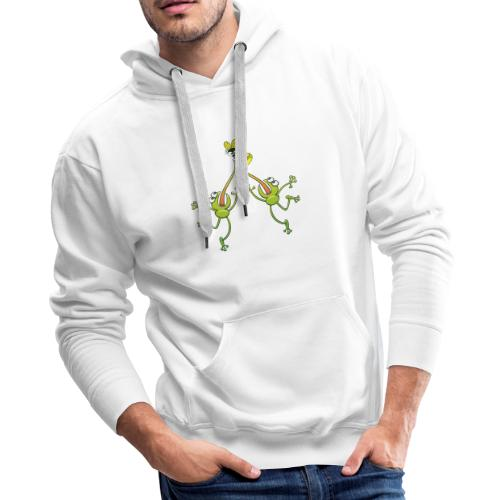 Two green frogs fighting to eat an unlucky fly - Men's Premium Hoodie