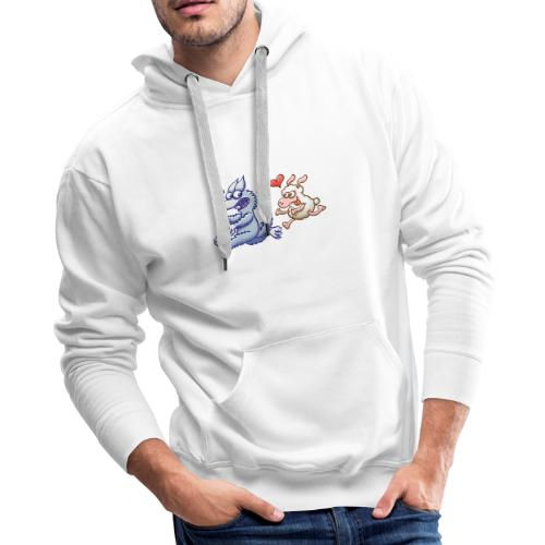 Funny sheep in love running after a terrified wolf - Men's Premium Hoodie