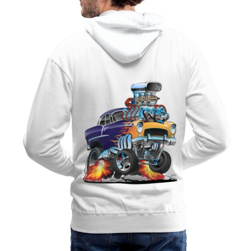 Classic Fifties Hot Rod Muscle Car Cartoon - Men's Premium Hoodie