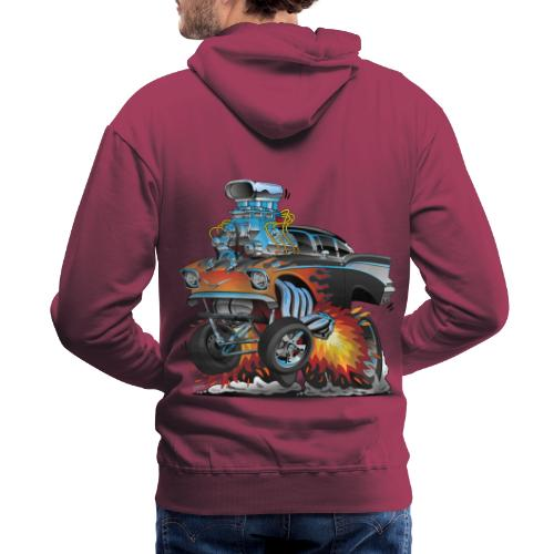 Classic hot rod 57 gasser dragster car cartoon - Men's Premium Hoodie