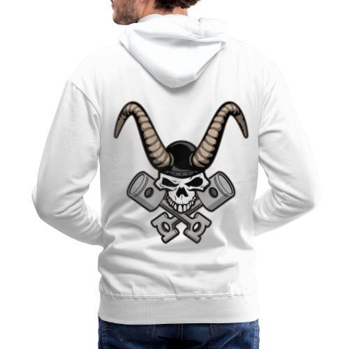 Skull with horns and crossed pistons illustration - Men's Premium Hoodie