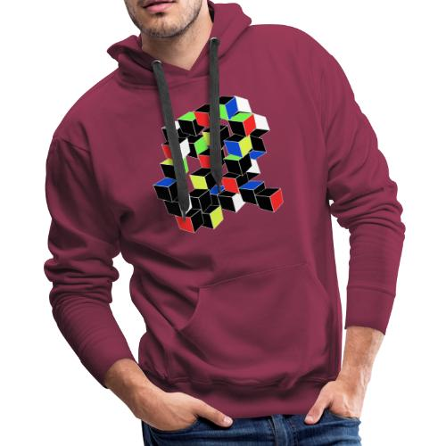 Optical Illusion Shirt - Cubes in 6 colors- Cubist - Men's Premium Hoodie