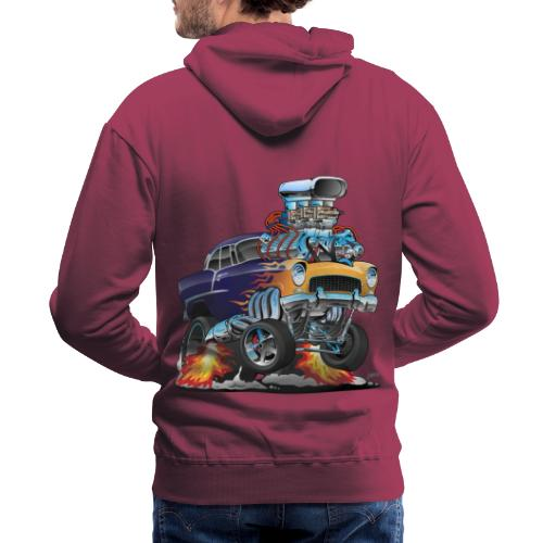 Classic Fifties Hot Rod Muscle Car Cartoon - Men's Premium Hoodie