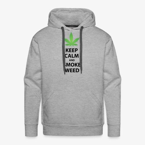 keep calm smoke weed black text - Men's Premium Hoodie