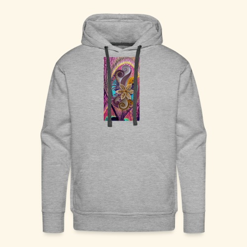 peacock feather and flower - Men's Premium Hoodie