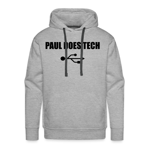 Paul Does Tech Logo Black with USB - Men's Premium Hoodie