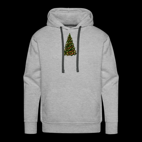 Large Christmas Tree with Red Ribbon - Men's Premium Hoodie
