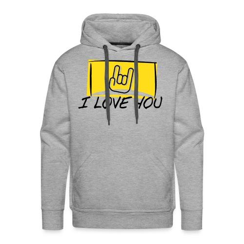 I Love You with sign language Yellow window. - Men's Premium Hoodie