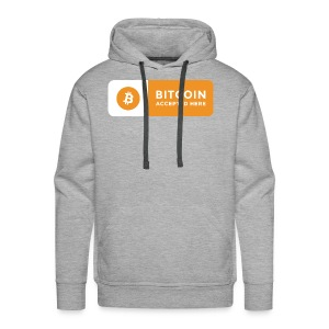 Bitcoin Accepted Here Logo Symbol Cryptocurrency - Men's Premium Hoodie