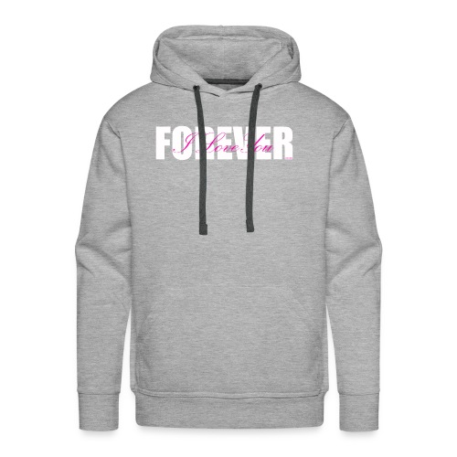 I LOVE YOU FOREVER Pink and White - Men's Premium Hoodie