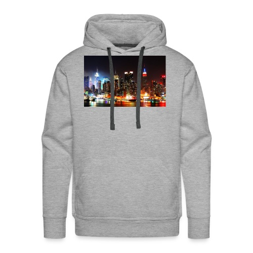 New York City Skyline at Night - Men's Premium Hoodie