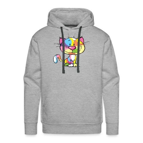 Cute Kitty Cartoon Colorful Pop Art Design - Men's Premium Hoodie