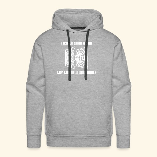 wormhole is faster than a car - white version - Men's Premium Hoodie