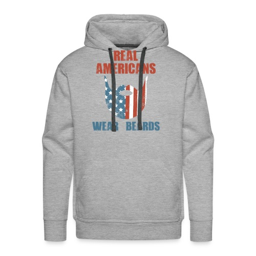 Real Americans Wear Beards Patriotic Flag Graphic - Men's Premium Hoodie
