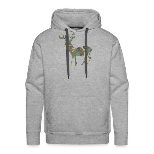 Distressed Camo Deer Silhouette T-Shirt - Men's Premium Hoodie