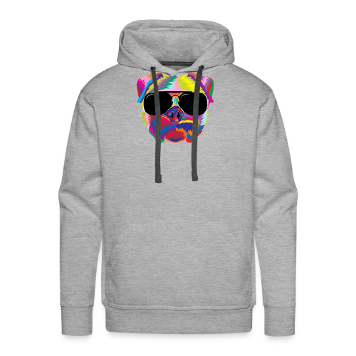 Psychedelic Pug Dog Face with Sunglasses - Men's Premium Hoodie