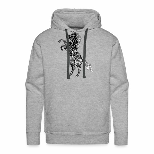 Rearing Horse Zentangle (abstract doodle) - Men's Premium Hoodie