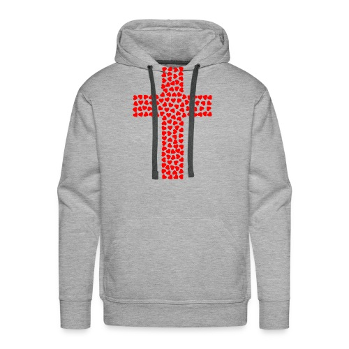 Cross with hearts - Men's Premium Hoodie