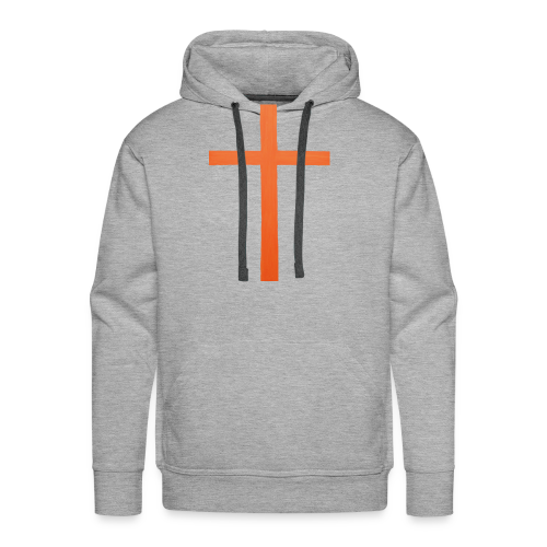 Orange Cross Jesus Rock Design AVE - Men's Premium Hoodie