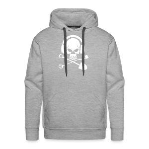 Silver Pirate Logo White LARGE TRANS - Men's Premium Hoodie