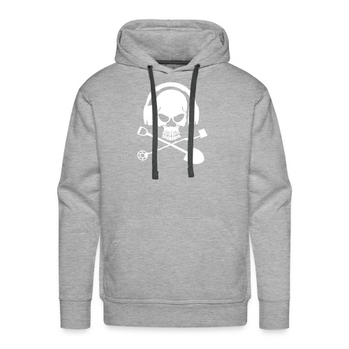 Silver Pirate Logo White LARGE TRANS - Men's Premium Hoodie