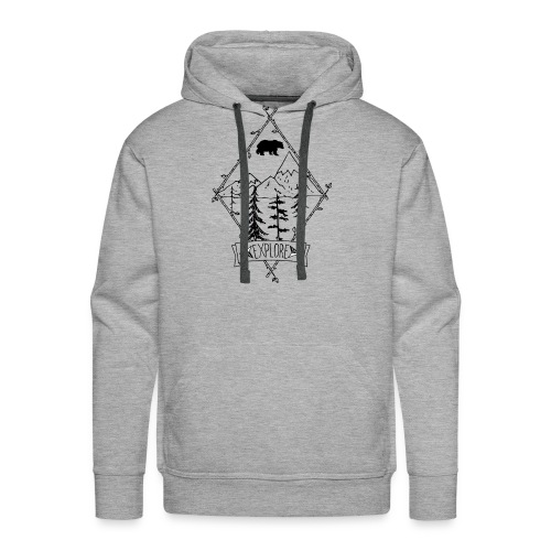 explore nature with apline trees and bear - Men's Premium Hoodie