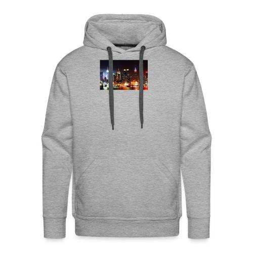 New York City Skyline at Night - Men's Premium Hoodie