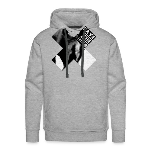 3D Save The Rhino (Black and White) - Men's Premium Hoodie