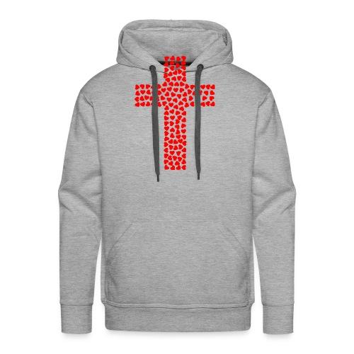 Cross with hearts - Men's Premium Hoodie