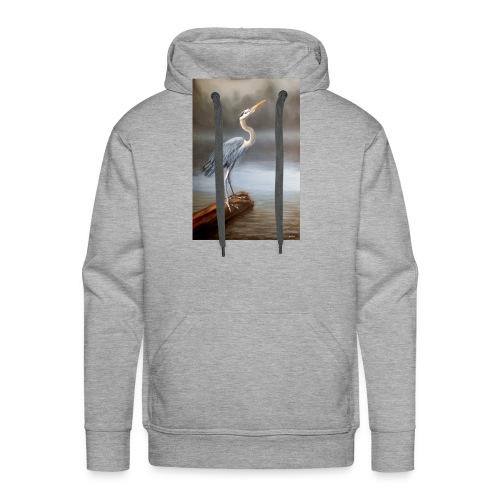 Blue Heron Wildlife Painting Print - Men's Premium Hoodie