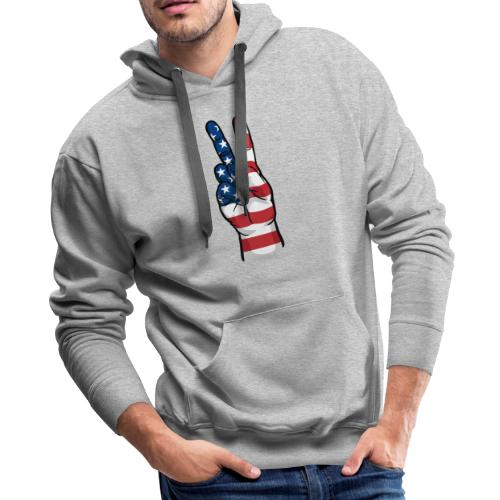 hand peace sign USA T small - Men's Premium Hoodie