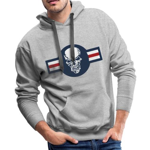 Military aircraft roundel emblem with skull - Men's Premium Hoodie