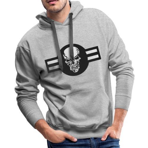 Military aircraft roundel emblem with skull - Men's Premium Hoodie