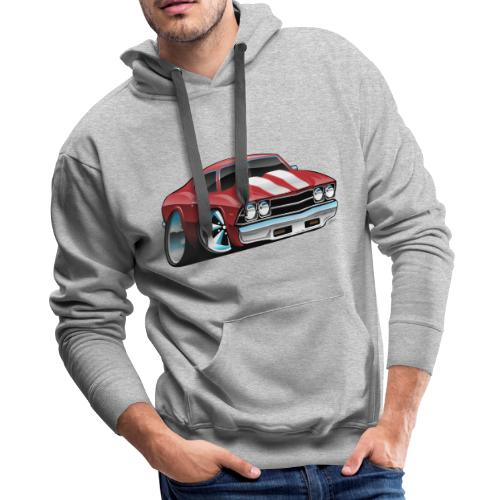 Classic American Muscle Car Cartoon - Men's Premium Hoodie