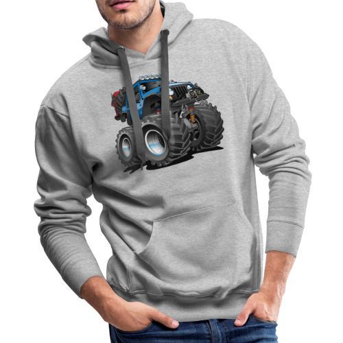 Off road 4x4 blue jeeper cartoon - Men's Premium Hoodie
