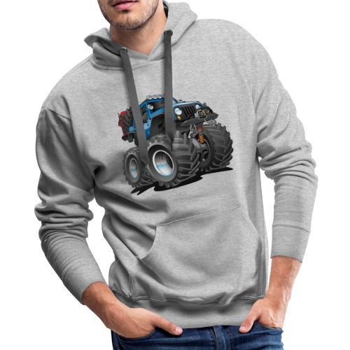 Off road 4x4 blue jeeper cartoon - Men's Premium Hoodie