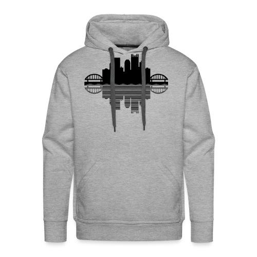Pittsburgh Skyline Reflection (Black) - Men's Premium Hoodie