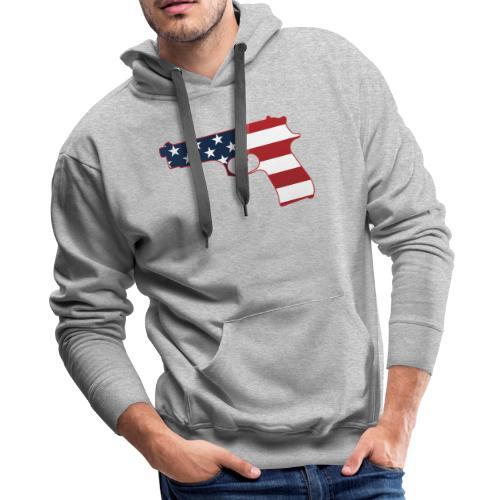 Semi-automatic Stars & Stripes Handgun Silhouette - Men's Premium Hoodie