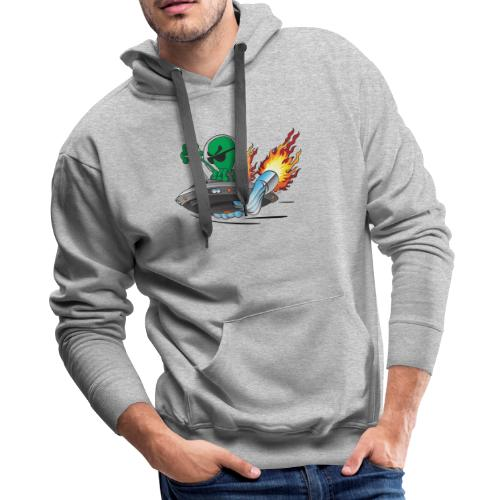 UFO Alien Hot Rod Cartoon Illustration - Men's Premium Hoodie