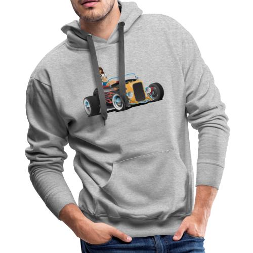 Custom Hot Rod Roadster Car with Flames and Sexy W - Men's Premium Hoodie