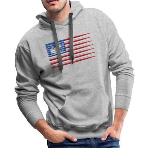American Drummer Flag with Drum Kit and Sticks - Men's Premium Hoodie