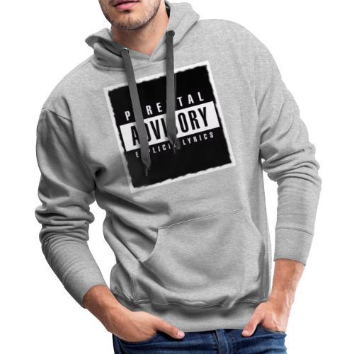 BLACK PARENTAL ADVISORY EXPLICIT LYRICS DESIGN - Men's Premium Hoodie