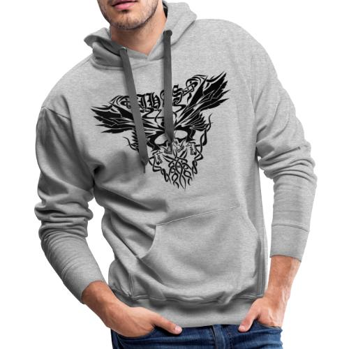 Vintage JHAS Tribal Skull Wings Illustration - Men's Premium Hoodie
