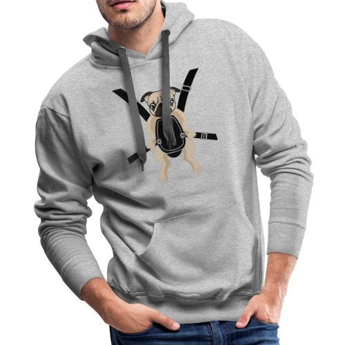 Funny Cute Baby PUG Carrier with Strap On - Men's Premium Hoodie