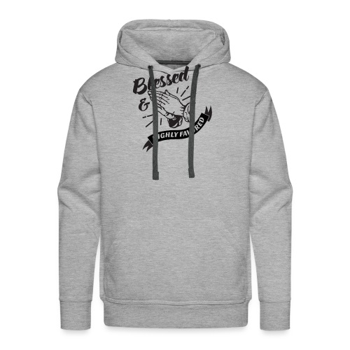 Blessed and Highly Favored (Flag w/ Black Letters) - Men's Premium Hoodie