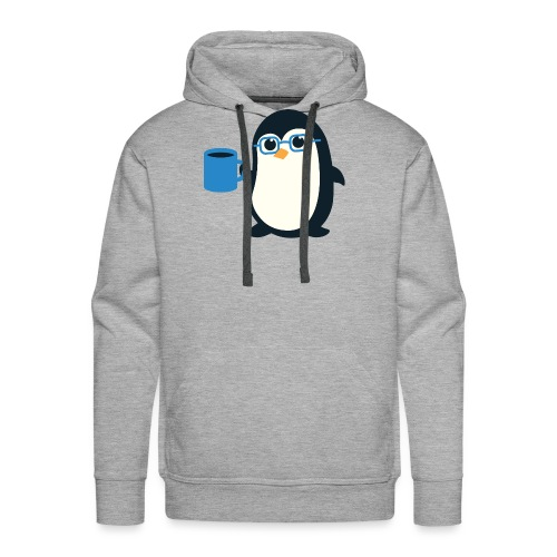 Penguin Coffee Cute - Blue Glasses - Men's Premium Hoodie